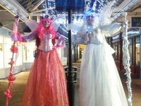 Pink & White Fairy Stilt Walkers